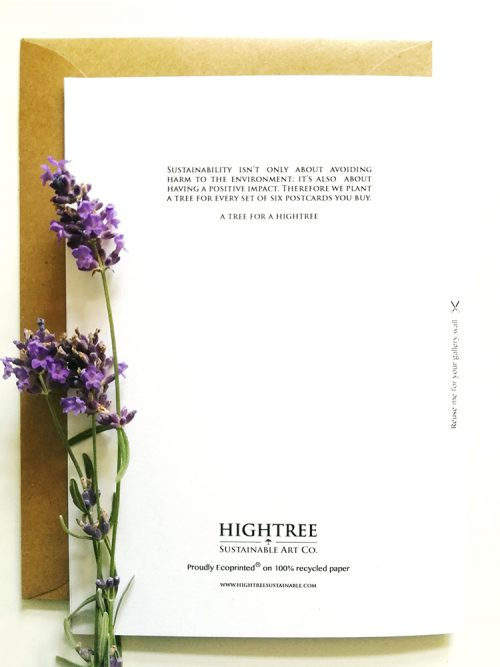 Backside of a sustainable postcard by Hightree® Sustainable Art Co.